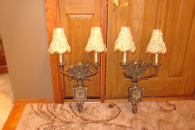 Vintage Dual light Wall Sconces / A Set of Two