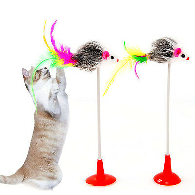 YH Funny Pet Feather False Mouse Bottom Sucker Cat Kitten Playing Scratch Toy