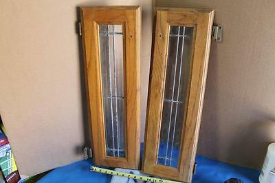 PAIR OF Beveled Diamond Leaded Stained Glass Panel Window Cabinet Door Glass