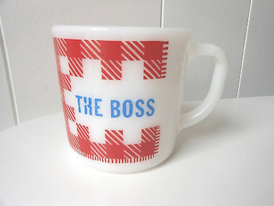 Vintage Westfield Coffee Mug Cup- BOSS  Milk Glass Red White D HANDLE RARE