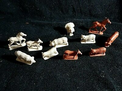 Vintage 11 Rubber Barn Animals - Horse, Pig, Cow, Sheep
