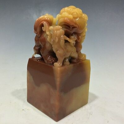 Chinese exquisite hand-carved Shoushan stone beast carving seal 4.33inch