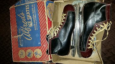 Alfred's Ice Skates Alfred Johnson Skate Co Vintage Size 12 With Box