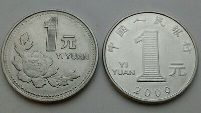 China 1 Yuan 1993 and 2009. KM#337/1212. One Dollar coin. Chrysanthemum. Flowers