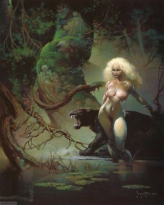 """100% Hand-painted oil Painting,""""CAT GIRL """" by Frank Frazetta 24x36 inch"""