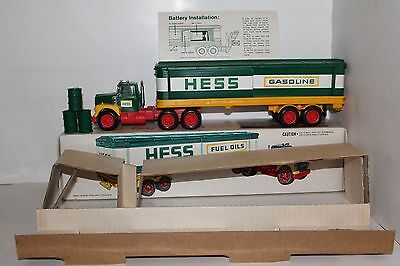 Near Mint 1975 Hess Toy Box Truck with 3 Barrels in Original Box Inserts Lights
