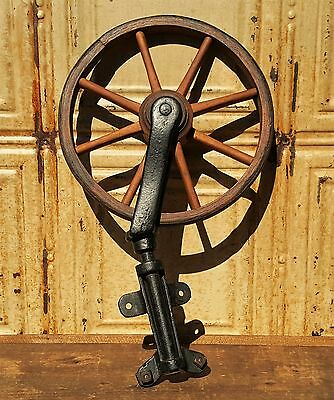 Antique Wood Spoke Wheel Swivel Bracket Wheelchair Salvage Industrial Steampunk