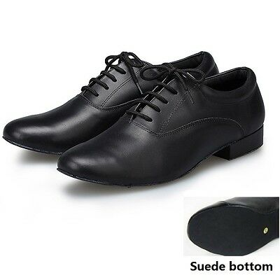 Black Genuine Leather latin dance shoes Men's Modern ballroom Shoes Soft Outsole