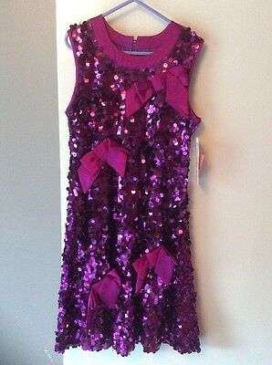 Gorgeous Sequin Purple Sulk Designer Girls Size 8 Party Dress