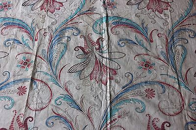 French Early 19thC Jacobean-Paisley Antique Hand Blocked Linen Textile Fabric