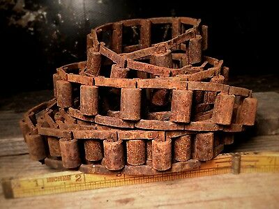 Vtg INDUSTRIAL STEEL GEAR CHAIN, Antique Square Link Farm Iron Steampunk Lamp