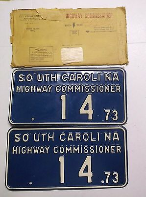 1973 SC South Carolina Highway Commissioner License Plates Tag Low # Pair 14 W@W