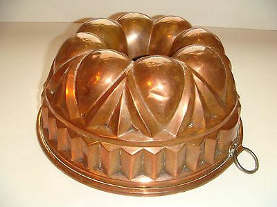 "Antique Copper Jelly Pudding Jello Bundt Mold Tin Lined Large 10"" Diameter"