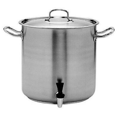 Stockpot with Tap & Lid, 33.6L, Stainless Steel, Pujadas 'Top Line', Stock Pot