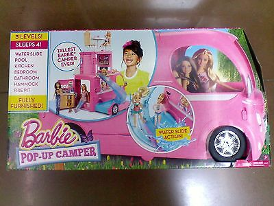 Play Set Barbie Pop Up Camper Vehicle Pink Pool Slide RV Toys Kids