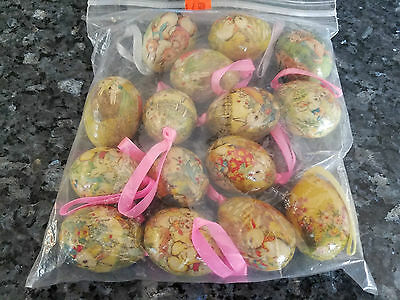 Vintage 15 Small Decorative Easter Eggs Hanging Ornaments Light Very Elegant