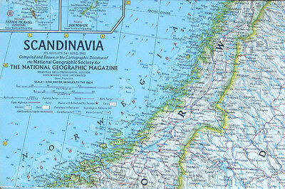 Vintage National Geographic Map Poster Scandinavia 1963