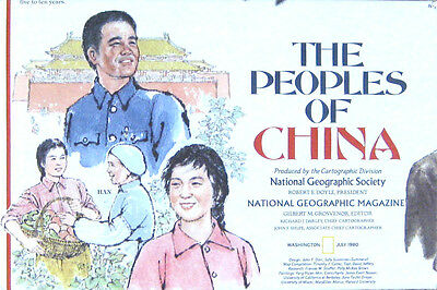 Vintage National Geographic Map Poster The Peoples of China 1980