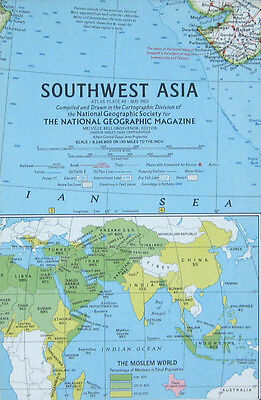 Vintage National Geographic Map Poster Southwest Asia 1963