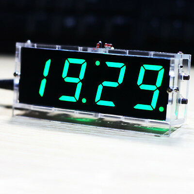 Compact 4-digit DIY Digital LED Clock Kit Light Control Temperature Date Time