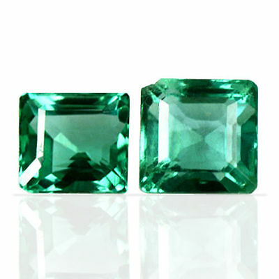 0.77 Cts Natural Top Rich Green Pair Emerald Square Octagon Cut Untreated Zambia