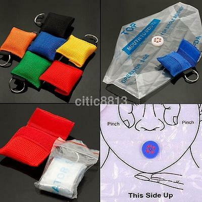 CPR Resuscitator Keychain Mask Bag Emergency Face Shield First Aid Rescue Kit