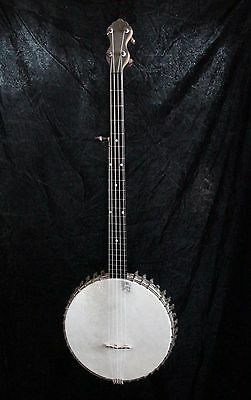 Excellent very old fretless banjo (Paramount?) with pickup and padded case