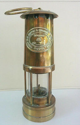 Brass miner's oil lamp; Authentic Thomas & Williams (Abedare - Wales)