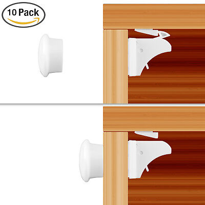 10PCS Invisible Magnetic Baby Child Pet Proof Cupboard Door Drawer Safety Lock