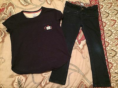Girls Mamas And Papas - Age 4-5  Jeans And T-shirt Outfit - Excellent Condition