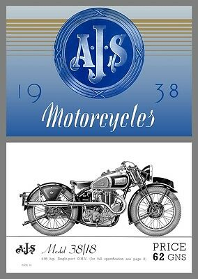 1938 AJS sales catalogue - Reproduction
