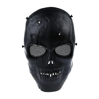 Airsoft Mask Skull Full Protective Mask Military - Black U0