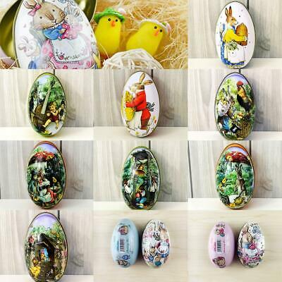 Cute Vintage Easter Eggs Tin Metal Rabbit Litho Gift Wedding Candy box 10 Types