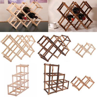 Red Wine Wooden Rack 3/6/10 Bottle Mount Holder Kitchen Exhibition Organizer