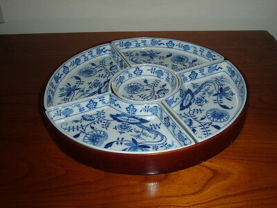 Vintage Booths Blue And White 'onion' Pattern  5 Segmented Earthenware Dish
