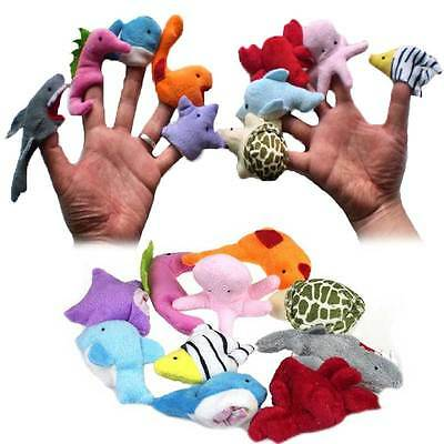 10pcs/ Set Cute Sea Animals Plush Hand Finger Puppets Toys Gifts for Kids