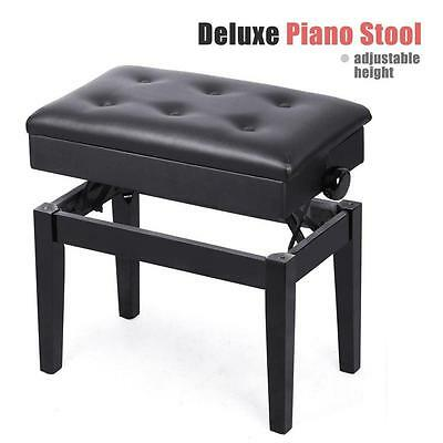 Height Adjustable Leather Piano Wood Bench Storage Keyboard Stool Seat Used B