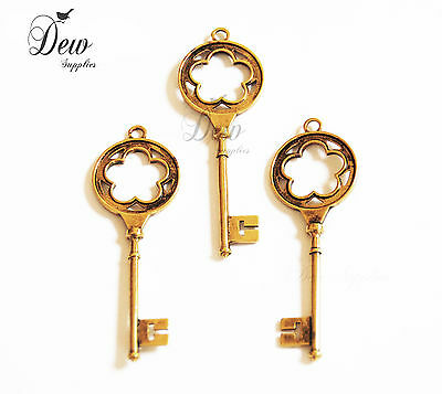 10x key charms antique gold vintage style Key pendant 6 cm Old Looking