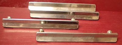 4 Authentic Mid Century Chrome - Nickel Kitchen Or Med. Cabinet Drawer Handle