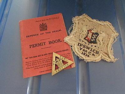 Very Scarce 1914 British YMCA patch  Permit Book  On War Service badge Group
