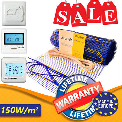 Floor Heating Underfloor Mat - Electric Dual Core Cable Kit Tile Thermostat 150w
