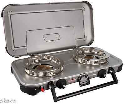 Coleman Hyperflame Fyreknight 2 Burner Gas Camping Stove Camp Cooking