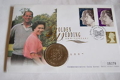 A035 QEII 50th wedding GB coin stamp cover mint