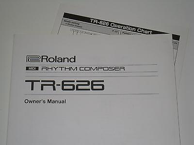 Roland TR-626 Rhythm Composer - Original Owner's Manual and Operation Chart