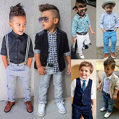 New Kid Boy Outfits T Shirt Pants Coats Trousers Set Toddler Baby Gentleman Suit