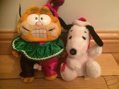 Vintage Retro Garfield And Snoopy Soft Toys. Collectable. 1980's