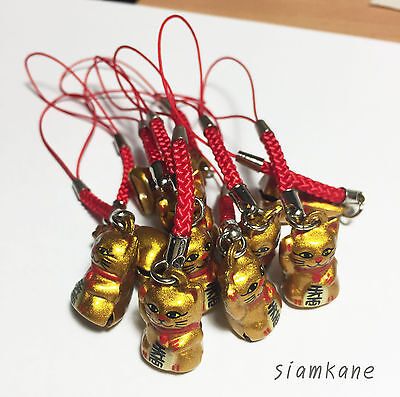 Lucky Cat Maneki Neko Japanese Bell 2.3 cm. Gold 10 PCS.