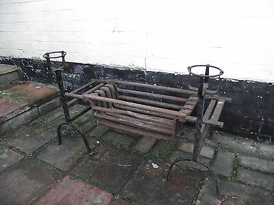 Wrought Iron Fire Basket with Dogs