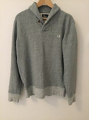 Men's Fred Perry Shawl Neck Grey Jumper In Size M