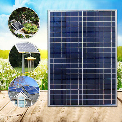 100W Poly-Crystalline 12V Solar Panel Battery Charger Caravan Boat Home W/ Clips
